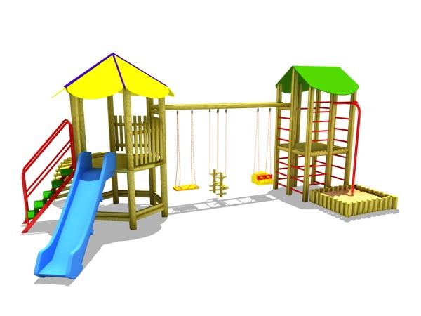ahşap çocuk oyun parkı sg02n